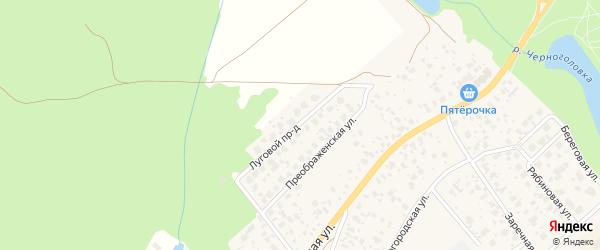 Луговой проезд на карте Черноголовки с номерами домов