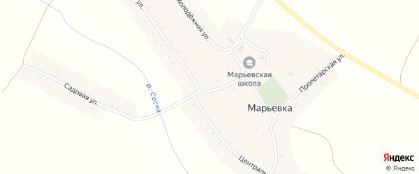 Центральная улица на карте села Марьевка с номерами домов