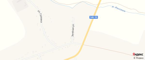 Зеленая улица на карте Подгорного села с номерами домов
