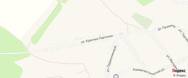 Улица Красных Партизан на карте Бирюча с номерами домов