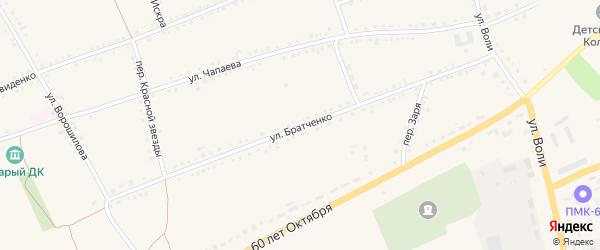 Улица Братченко на карте села Засосны с номерами домов