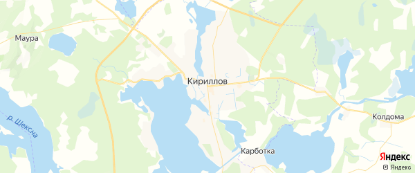 Карта Кириллова с районами, улицами и номерами домов