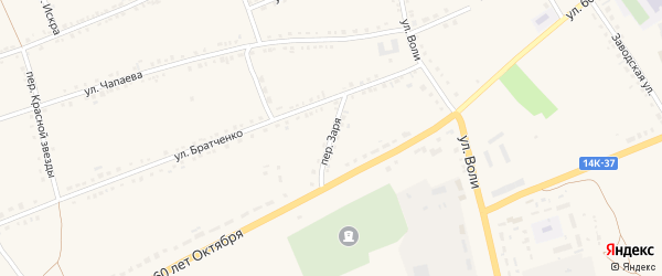 Переулок Заря на карте села Засосны с номерами домов