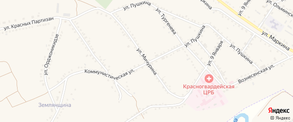 Улица Мичурина на карте Бирюча с номерами домов