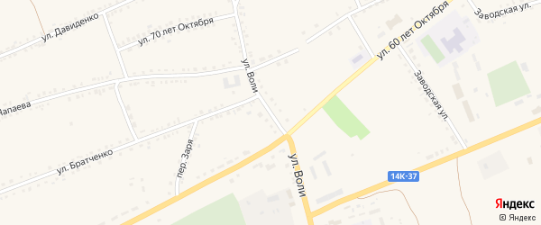 Улица Воли на карте села Засосны с номерами домов