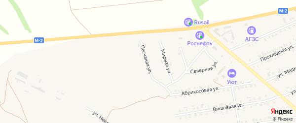 Песчаная улица на карте Бирюча с номерами домов
