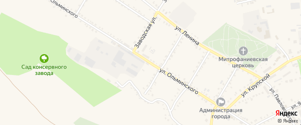 Улица Ольминского на карте Бирюча с номерами домов