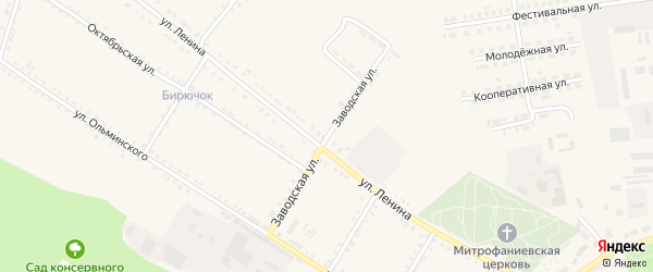 Заводская улица на карте Бирюча с номерами домов