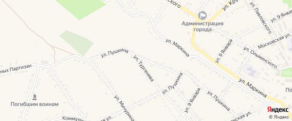 Улица Пушкина на карте Бирюча с номерами домов