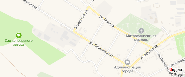 Большевистская улица на карте Бирюча с номерами домов