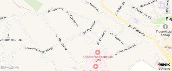 Улица Тургенева на карте Бирюча с номерами домов