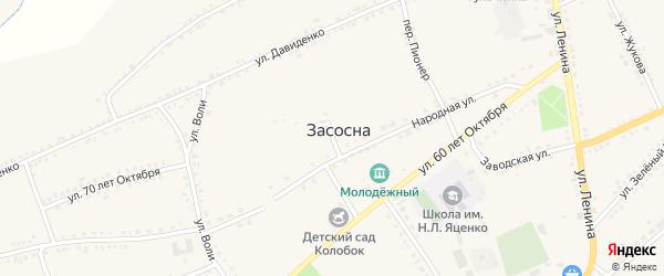 Октябрьский переулок на карте села Засосны с номерами домов