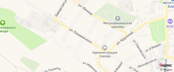 Комсомольская улица на карте Бирюча с номерами домов