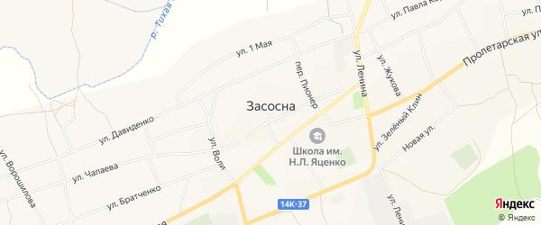 Карта села Засосны в Белгородской области с улицами и номерами домов