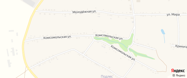Комсомольская улица на карте села Большебыково с номерами домов
