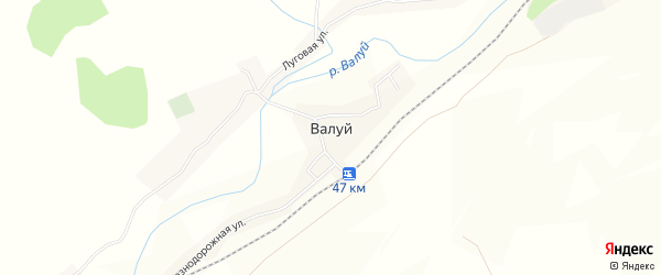 Карта села Валуя в Белгородской области с улицами и номерами домов