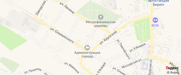 Красный переулок на карте Бирюча с номерами домов