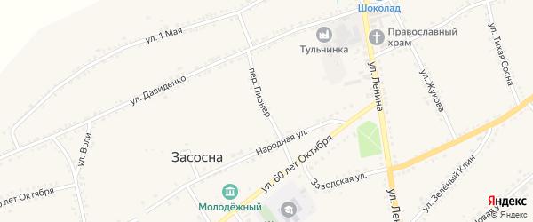 Переулок Пионер на карте села Засосны с номерами домов