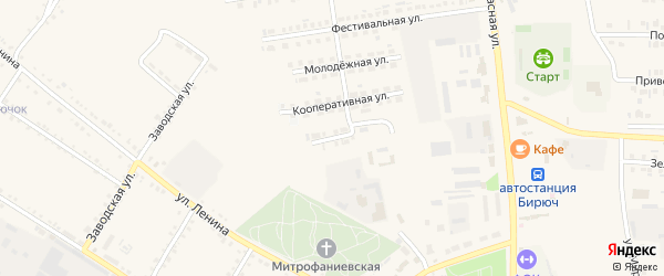 Цветочная улица на карте Бирюча с номерами домов