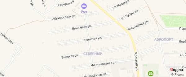Тенистая улица на карте Бирюча с номерами домов