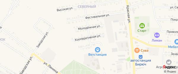 Кооперативная улица на карте Бирюча с номерами домов