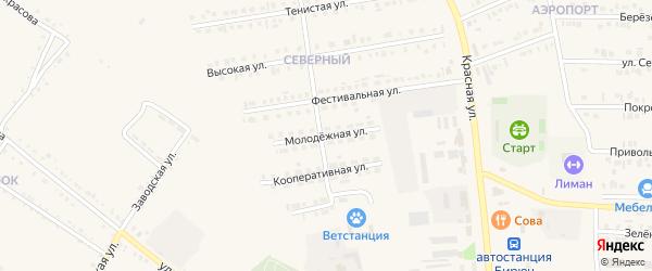 Молодежная улица на карте Бирюча с номерами домов