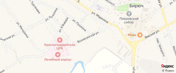 Вознесенская улица на карте Бирюча с номерами домов