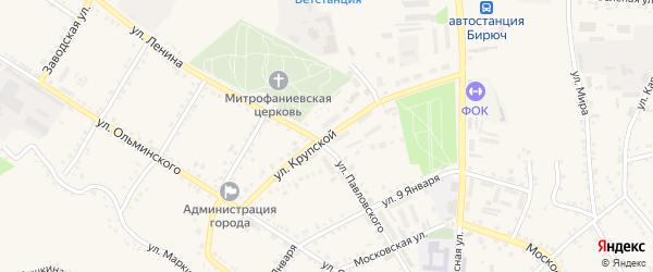 Улица Крупской на карте Бирюча с номерами домов