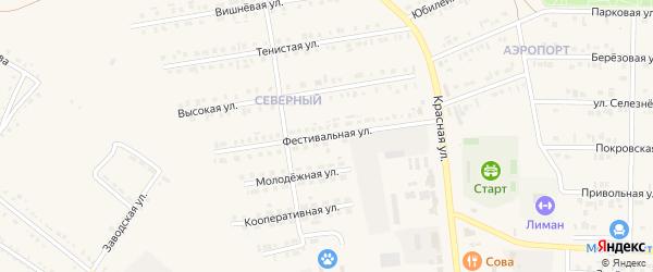 Фестивальная улица на карте Бирюча с номерами домов
