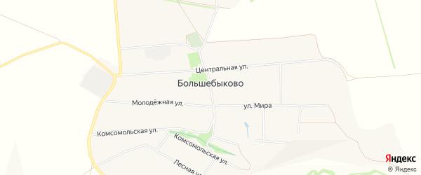 Карта села Большебыково в Белгородской области с улицами и номерами домов