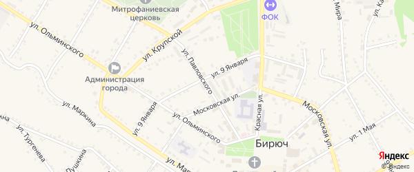 Улица Павловского на карте Бирюча с номерами домов