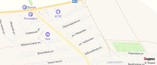 Улица Медкова на карте Бирюча с номерами домов