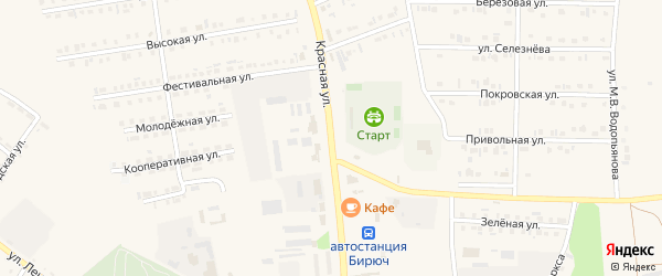 Красная улица на карте Бирюча с номерами домов