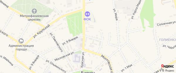 Улица 9 Января на карте Бирюча с номерами домов