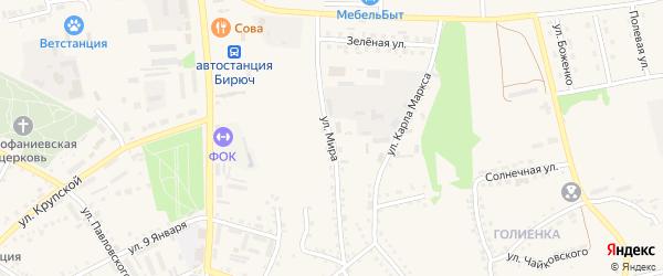Улица Мира на карте Бирюча с номерами домов