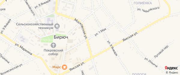 1 Мая улица на карте Бирюча с номерами домов