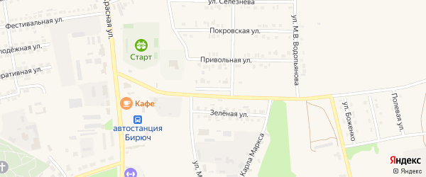 Улица 65 лет Победы на карте Бирюча с номерами домов
