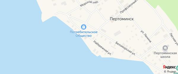 Набережная улица на карте поселка Пертоминска с номерами домов
