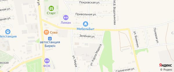 Зеленая улица на карте Бирюча с номерами домов