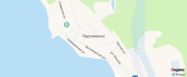 Карта поселка Пертоминска в Архангельской области с улицами и номерами домов