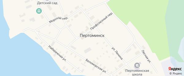 Морской переулок на карте поселка Пертоминска с номерами домов