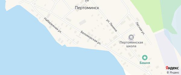Беломорская улица на карте поселка Пертоминска с номерами домов