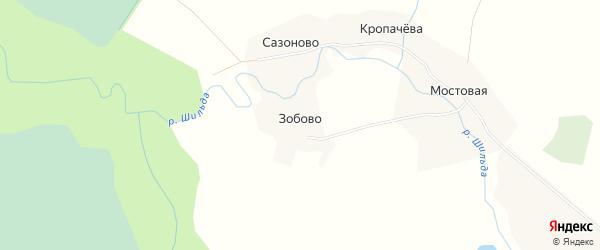 Карта деревни Зобово в Архангельской области с улицами и номерами домов