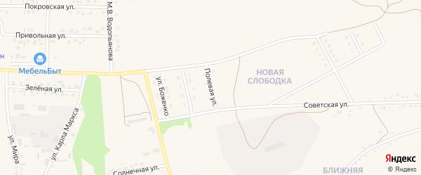 Полевая улица на карте Бирюча с номерами домов