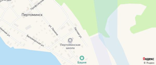 Лесная улица на карте поселка Пертоминска с номерами домов