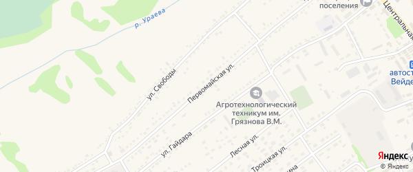 Первомайская улица на карте поселка Вейделевки с номерами домов