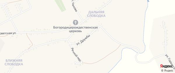 Улица Дружбы на карте Бирюча с номерами домов