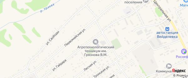 Улица Гайдара на карте поселка Вейделевки с номерами домов