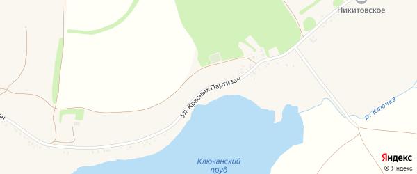 Улица Красных партизан на карте села Никитовки с номерами домов