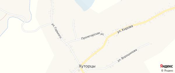 Пролетарская улица на карте села Хуторцы с номерами домов